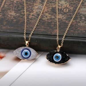 Blue Evil Eye Druzy Stone Necklace